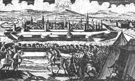 Autor: Kapitulacia_Kosic_do_ruk_cisarskeho_generala_Enea_Capraru_1685 Košice historické fotografie / Kronika Slovenskej republiky